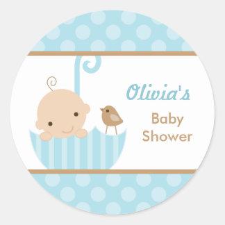 Etiquetas azuis do chá do bebé do guarda-chuva adesivo