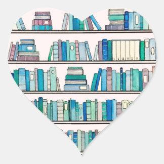 Etiquetas azuis do coração da estante