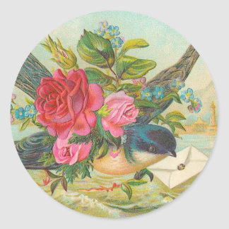 Etiquetas azuis do pássaro do vintage