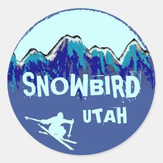 Etiquetas azuis do snowboarder do tema de Utá do Adesivo