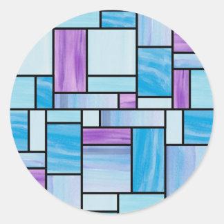 Etiquetas azuis e roxas do vitral adesivo em formato redondo