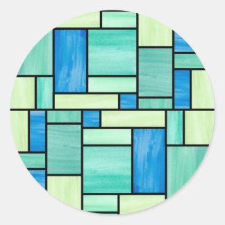 Etiquetas azuis e verdes do vitral adesivos em formato redondos