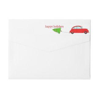 Etiquetas Boas festas árvore do reboque do carro do Natal