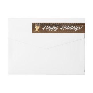 Etiquetas Boas festas endereço do remetente rústico do Natal