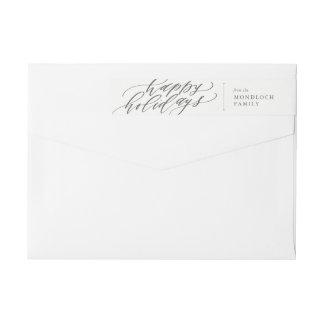 Etiquetas Boas festas envoltório do envelope da caligrafia