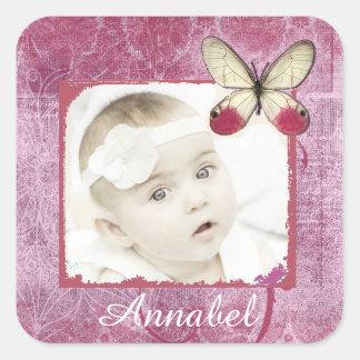 Etiquetas bonito da foto do bebê de Borgonha Adesivo Quadrado