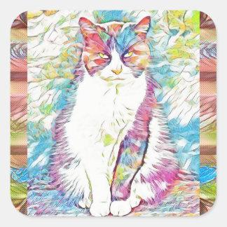 Etiquetas bonitos da arte abstracta do gato do