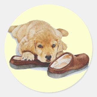 etiquetas bonitos da arte do cão de labrador adesivos redondos