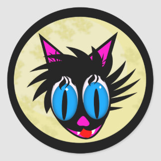 Etiquetas bonitos da lua do gato preto adesivo em formato redondo