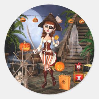 Etiquetas bonitos da menina do pirata do Dia das