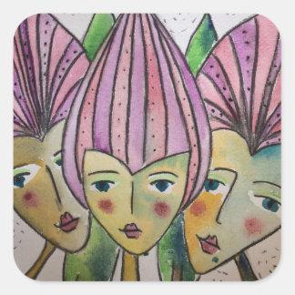 etiquetas bonitos de três irmãs idênticas