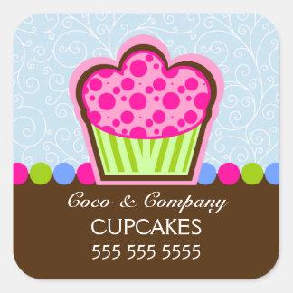Etiquetas bonitos do azul da padaria do cupcake adesivo quadrado