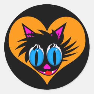 Etiquetas bonitos do coração do gato preto adesivos em formato redondos