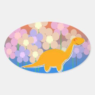 Etiquetas bonitos do dinossauro & das flores adesivos ovais