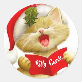 Etiquetas bonitos do gatinho que cantam canções de