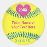 Etiquetas bonitos do softball para a equipe do adesivos em formato redondos