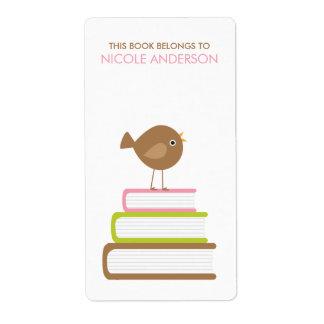 Etiquetas bonitos dos Bookplates do pássaro