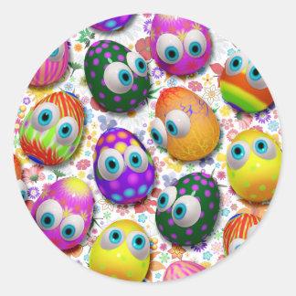 Etiquetas bonitos dos desenhos animados dos ovos