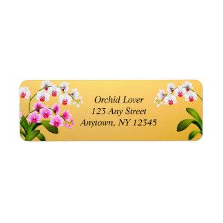 Etiquetas brancas cor-de-rosa das flores da orquíd etiqueta endereço de retorno