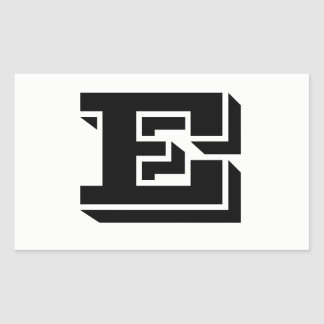Etiquetas brancas da pia batismal da letra E