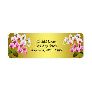 Etiquetas brancas das flores da orquídea do Phalae Etiqueta Endereço De Retorno