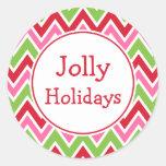 Etiquetas brilhantes do feriado adesivo redondo