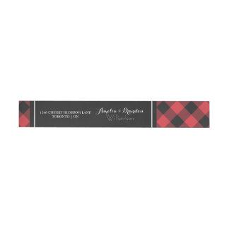 Etiquetas Casamento vermelho & preto da xadrez corajosa do