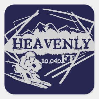 Etiquetas celestiais da elevação do esqui de adesivo quadrado