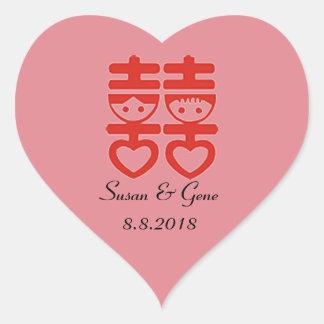 Etiquetas chinesas do coração do casamento
