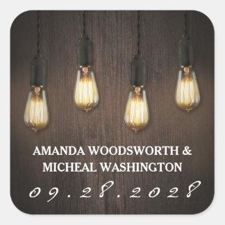 Etiquetas chiques do favor do casamento das luzes adesivo quadrado