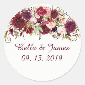 Etiquetas chiques florais vermelhas do casamento
