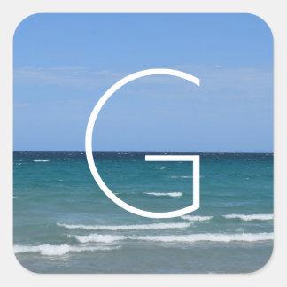 Etiquetas claras da praia de turquesa adesivo quadrado