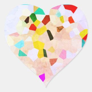 Etiquetas coloridas brilhantes do coração do teste