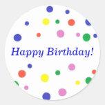 Etiquetas coloridas do feliz aniversario das bolin adesivo