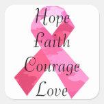 Etiquetas cor-de-rosa da fé da fita da camuflagem adesivo em forma quadrada