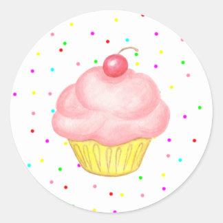 Etiquetas cor-de-rosa da festa de aniversário do adesivo