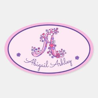 Etiquetas cor-de-rosa de uma identificação do nome adesivo oval