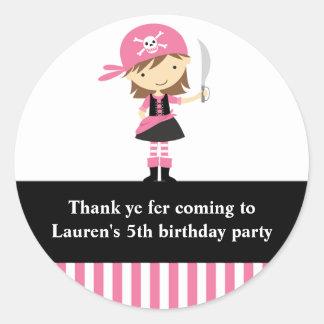 Etiquetas cor-de-rosa do aniversário da menina do adesivo