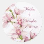 Etiquetas cor-de-rosa do casamento da orquídea do adesivos em formato redondos
