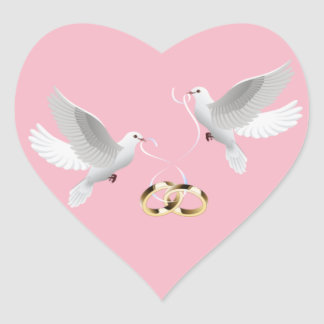 Etiquetas cor-de-rosa do coração das pombas do