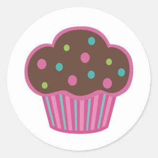 Etiquetas cor-de-rosa do cupcake do chocolate adesivo