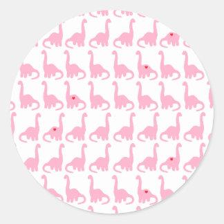 Etiquetas cor-de-rosa do dinossauro adesivo