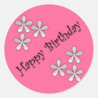 Etiquetas cor-de-rosa do feliz aniversario adesivo