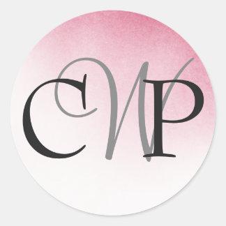 Etiquetas cor-de-rosa do monograma do casamento de