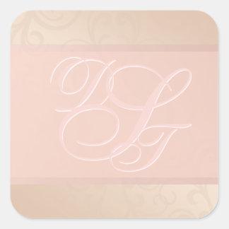 Etiquetas cor-de-rosa do monograma do teste padrão
