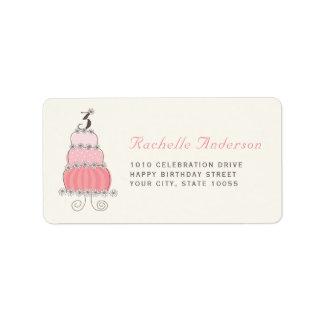 Etiquetas cor-de-rosa do partido de aniversário de