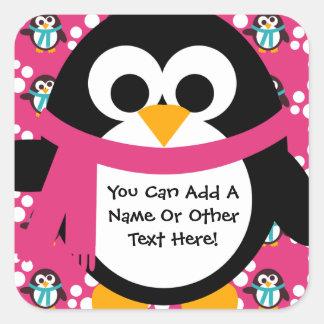 Etiquetas cor-de-rosa do partido do pinguim adesivo quadrado