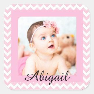 Etiquetas cor-de-rosa personalizadas da foto do adesivo quadrado
