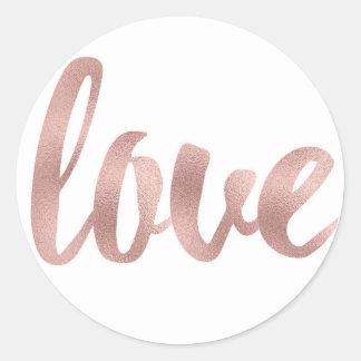 Etiquetas cor-de-rosa redondas do amor do ouro