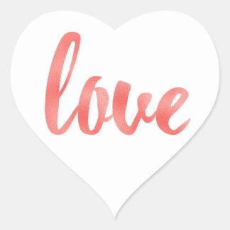 Etiquetas corais do amor, folha, coração dado